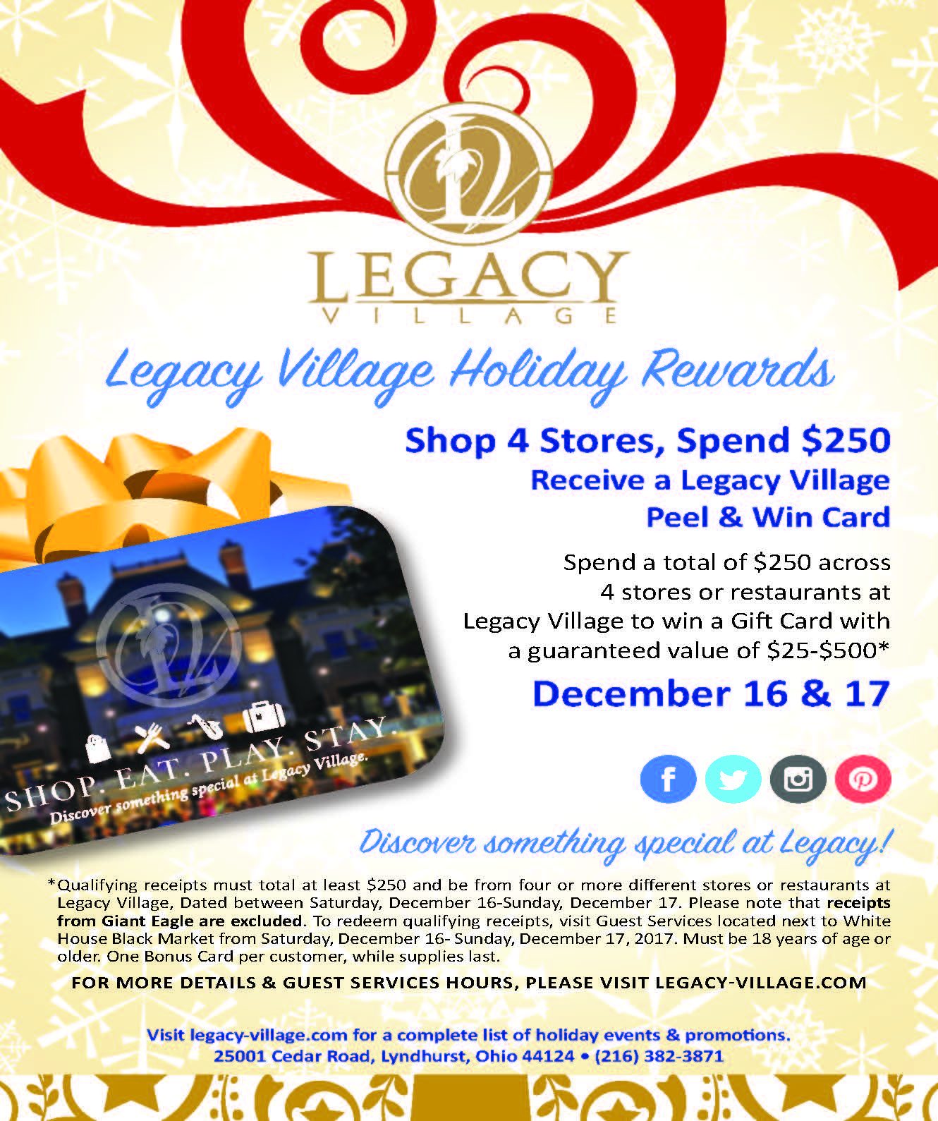 Holiday Rewards Gift Card Promotion December 16 17 Legacy