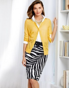 Talbots woman in yellow